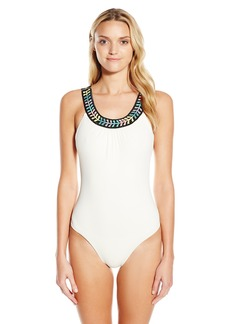 Mara Hoffman Women's Embellished Low Back One Piece Swimsuit