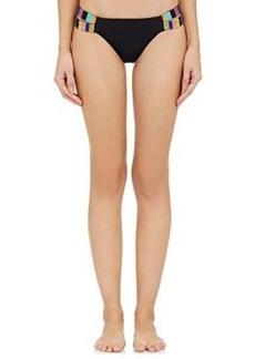 Mara Hoffman Women's Embroidered Bikini Bottom-BLACK Size S