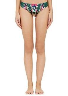 Mara Hoffman Women's Folkloric-Print Bikini Bottom-GREEN, PINK Size XS