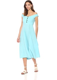 Mara Hoffman Women's Greta Off The Shoulder Button up Dress