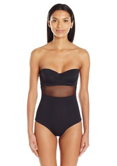 Mara Hoffman Women's Mesh Insert Bustier One Piece Swimsuit  L
