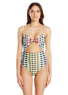 Mara Hoffman Women's Plaid Tie Front One Piece Swimsuit  XL