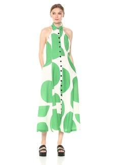 Mara Hoffman Women's Rosemary Button up Halterneck Scoop Back Midi Dress
