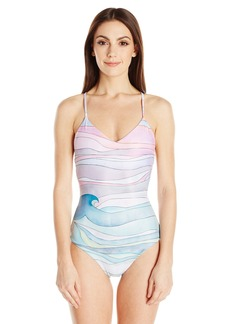 Mara Hoffman Women's Waves Maillot Lace-up Back One Piece Swimsuit  S