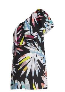 Mara Hoffman Xylophone Black-print one-shoulder linen dress