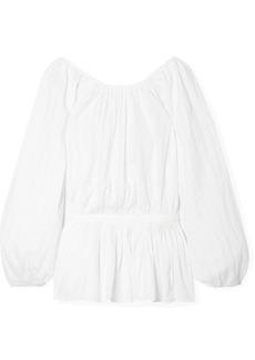 Mara Hoffman Maud Striped Organic Cotton-jacquard Blouse