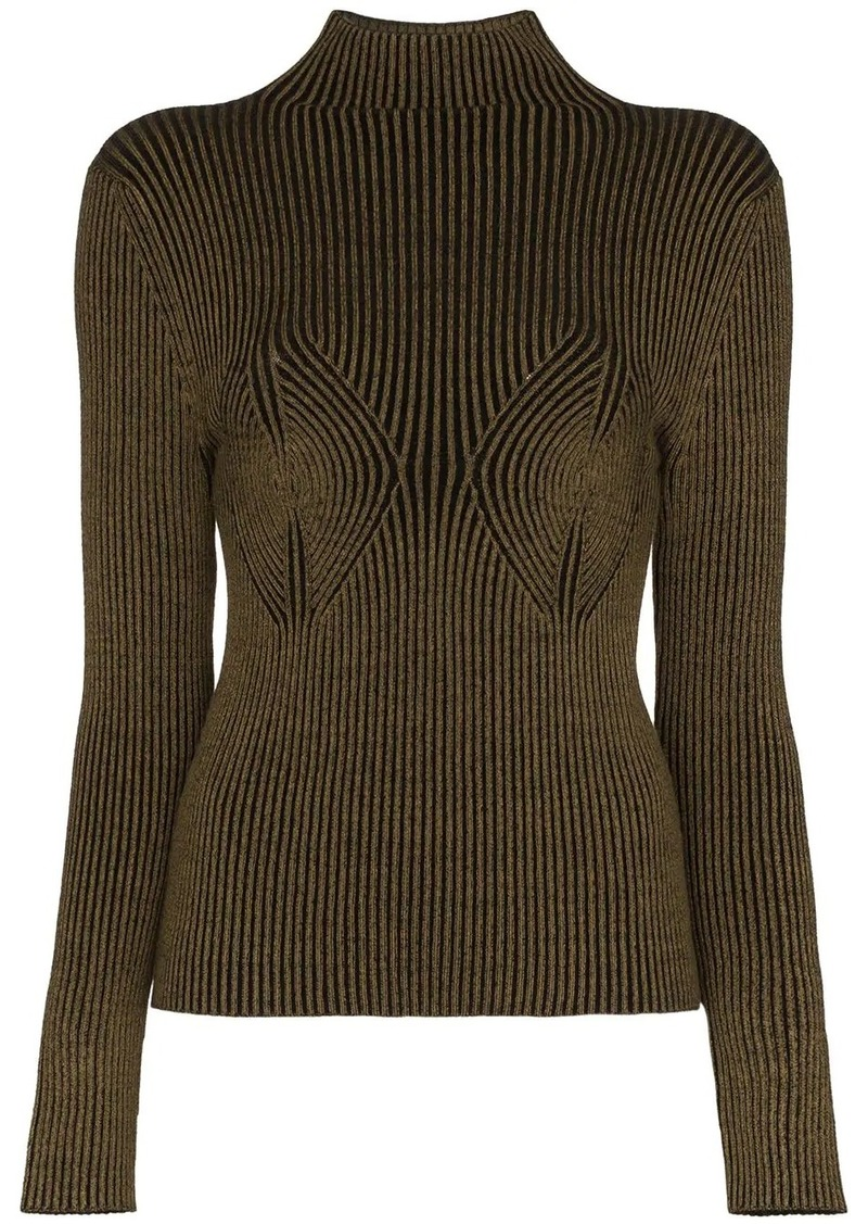 mida rib knit turtleneck top