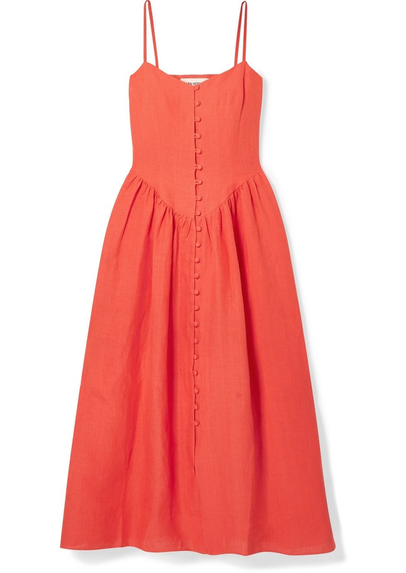 Mara Hoffman Net Sustain Mischa Gathered Hemp Midi Dress