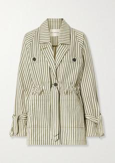 Mara Hoffman Net Sustain Arlo Belted Striped Tencel Lyocell And Organic Cotton-blend Twill Jacket