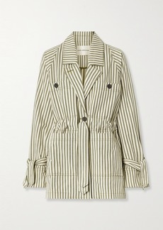 Mara Hoffman Net Sustain Arlo Belted Striped Tencel Lyocell And Organic Cotton-blend Twill Jacket