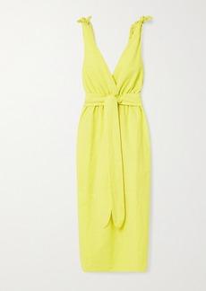 Mara Hoffman Net Sustain Calypso Belted Organic Cotton And Linen-blend Midi Dress