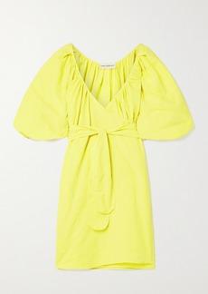 Mara Hoffman Net Sustain Coletta Organic Cotton And Linen-blend Mini Wrap Dress