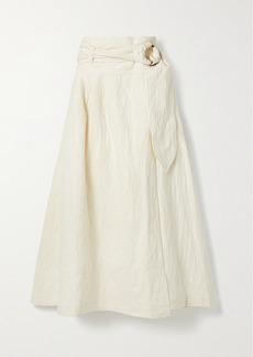 Mara Hoffman Net Sustain Esperanza Belted Organic Cotton And Linen-blend Jacquard Midi Wrap Skirt