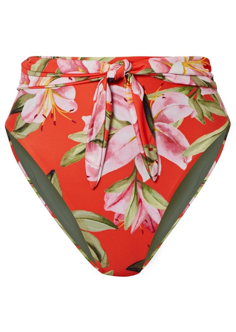 Mara Hoffman Net Sustain Goldie Tie-front Floral-print Bikini Briefs
