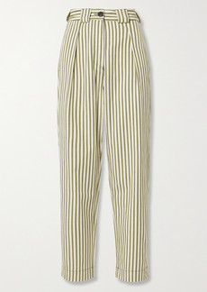 Mara Hoffman Net Sustain Jade Striped Tencel And Organic Cotton-blend Twill Tapered Pants