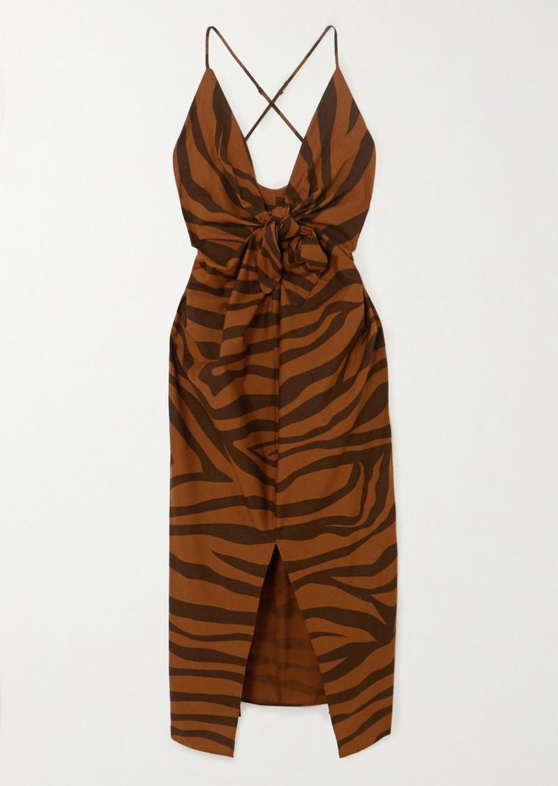 Mara Hoffman Net Sustain Lolita Knotted Tiger-print Organic Cotton Maxi Dress