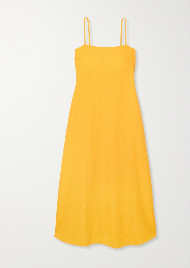 Mara Hoffman Net Sustain Philomena Belted Organic Cotton And Linen-blend Dress