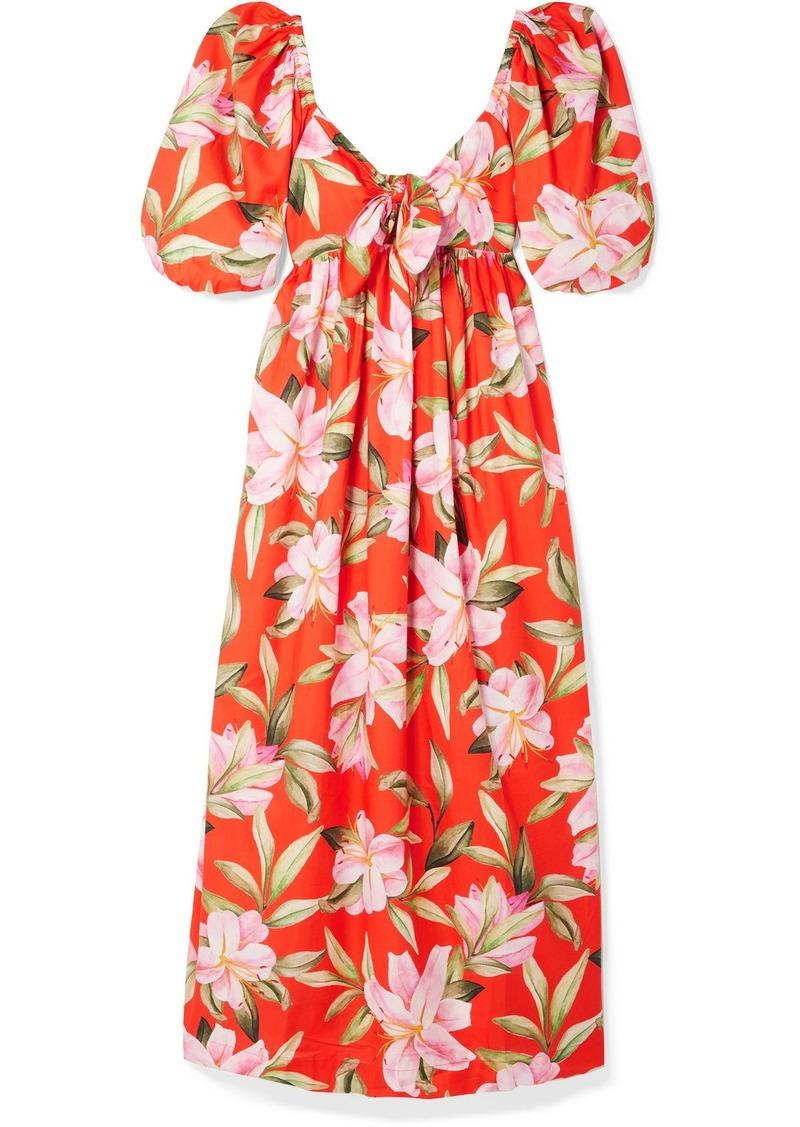 Mara Hoffman Net Sustain Violet Tie-front Floral-print Organic Cotton-voile Maxi Dress