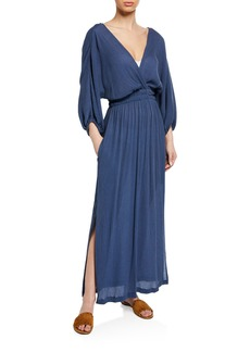 Mara Hoffman Plus Size Nami Surplice Long-Sleeve Woven Maxi Dress