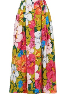 Mara Hoffman Tulay Pleated Floral-print Tencel And Linen-blend Maxi Skirt