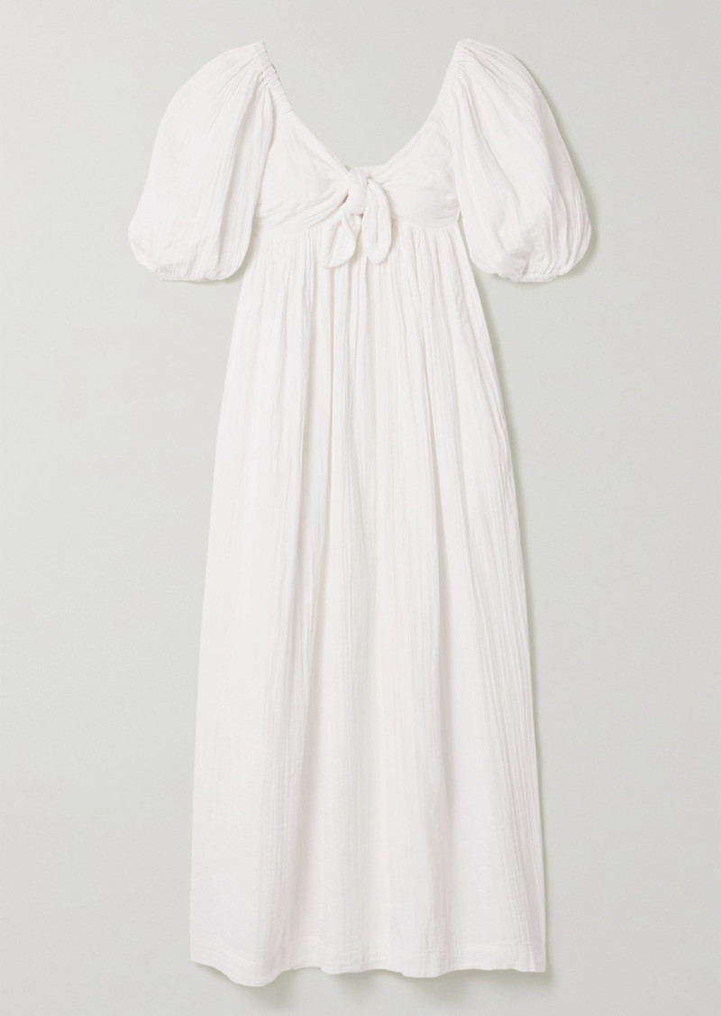 Violet Crinkled Organic Cotton-gauze Maxi Dress