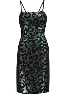 Marc By Marc Jacobs Woman Metallic Leopard-jacquard Mini Dress Emerald