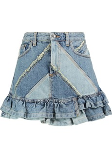 Marc By Marc Jacobs Woman Ruffled Patchwork Denim Mini Skirt Light Denim