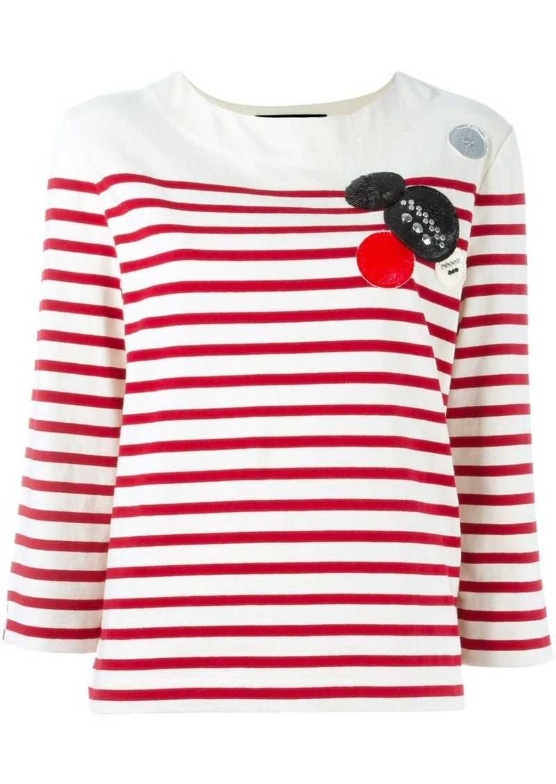 Marc by Marc Jacobs patched breton stripe top