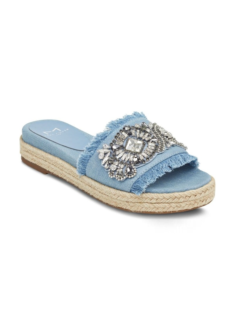 7f86b2ae5ef LTD. Women s Jelly Embellished Chambray Espadrille Slide Sandals. Marc  Fisher
