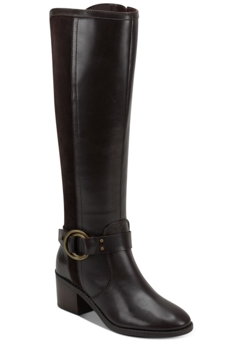 Marc Fisher Risa Block-Heel Leather Boots Women's Shoes