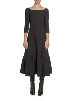 Marc Jacobs 3/4-Sleeve Boat-Neck Twill Dress