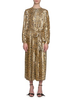 Marc Jacobs Animal-Print Lame Midi Dress