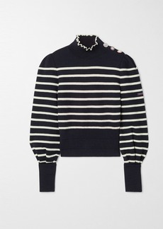 Marc Jacobs Armor-lux Embellished Striped Wool Turtleneck Sweater