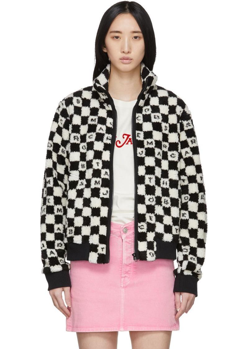 Marc Jacobs Black & White Logo Checkered Fleece Jacket