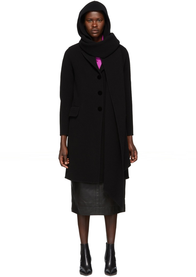 Marc Jacobs Black Hood Scarf Coat