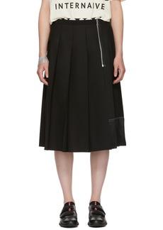 Marc Jacobs Black Pleated Wool Skirt
