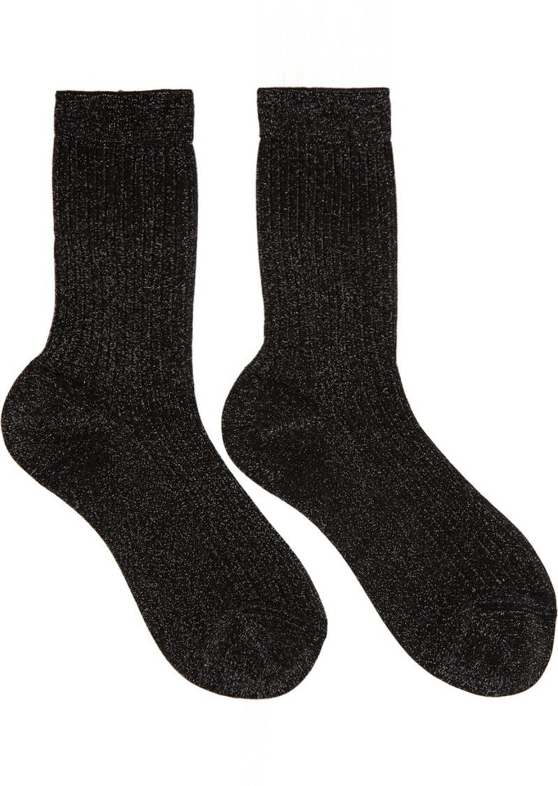 Marc Jacobs Black Ribbed Socks