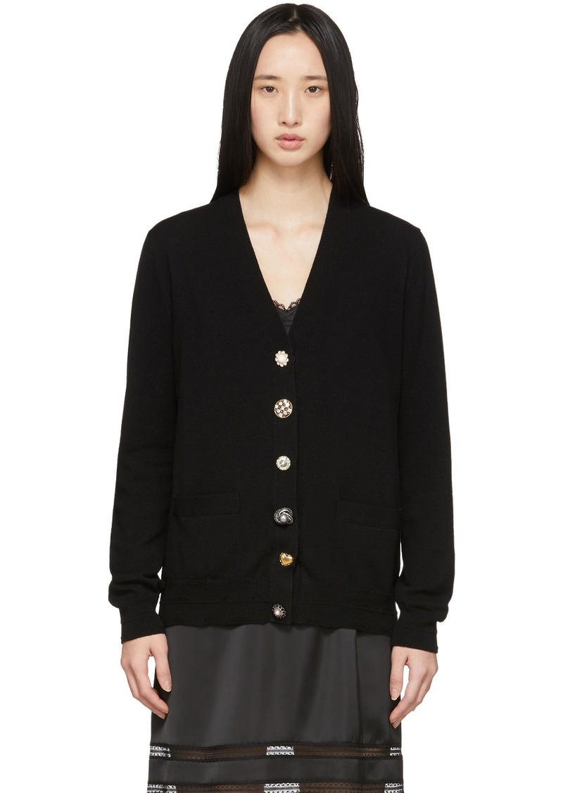 Marc Jacobs Black 'The Jewelled Button' Cardigan