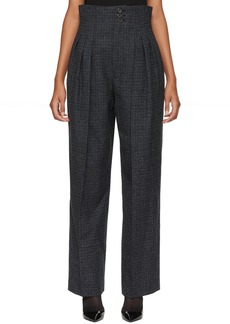 Marc Jacobs Blue Pleated Microcheck Trousers