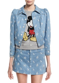 Marc Jacobs Broderie Anglaise Shrunken Denim Jacket