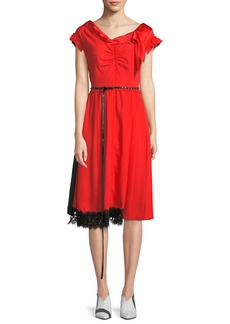 Marc Jacobs Cap-Sleeve V-Neck Belted Satin Dress w/ Lace Hem
