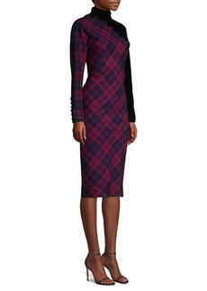 Marc Jacobs Check-Print Embroidered Wool Sheath Dress