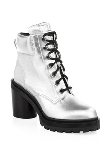 Marc Jacobs Crosby Metallic Leather Hiking Boots