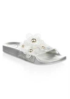 Marc Jacobs Daisy Embellished Metallic Glitter Slides