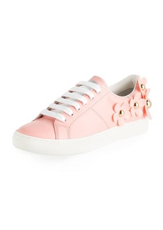 Marc Jacobs Daisy Stud-Flower Leather Low-Top Sneakers