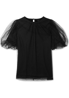 Marc Jacobs Evening Layered Swiss-dot Tulle And Cotton-jersey Top