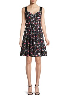 Marc Jacobs Floral-Print Belted A-Line Dress