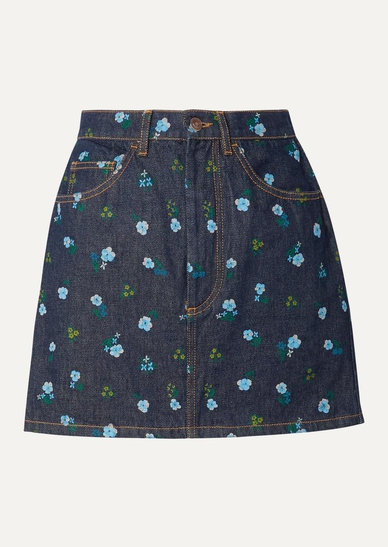 Marc Jacobs Floral-print Denim Mini Skirt