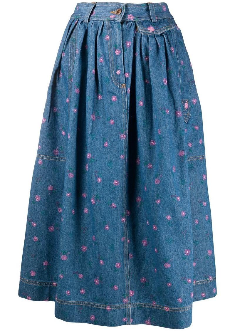 Marc Jacobs floral print denim skirt