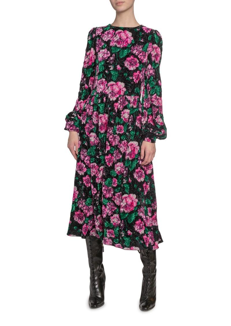 Marc Jacobs Floral-Print Velvet Blouson-Sleeve Dress